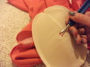 Seam ripper & grey nails = Successful removal