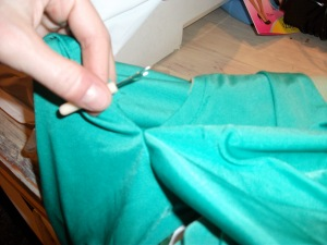 Seam ripping the sleeves