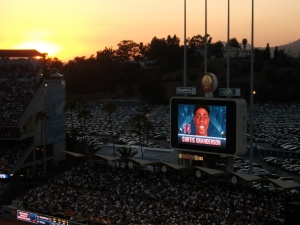 Sunset & Curtis Granderson up at bat